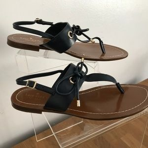KATE SPADE Navy Blue T-Strap Leather Sandals